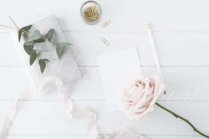 Blogger floral desk stock photo