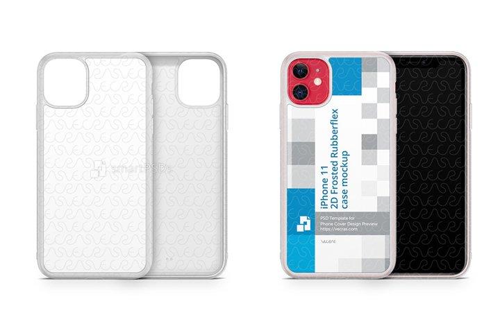 iPhone 11 2019 2d Frosted Rubber Flex Case Design Mockup
