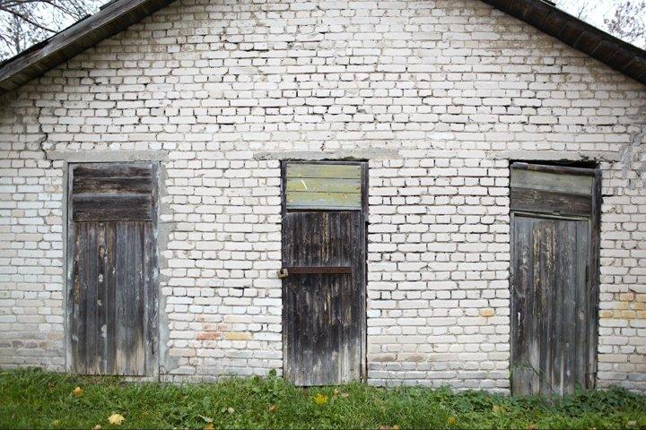 Three doors in the old garage.