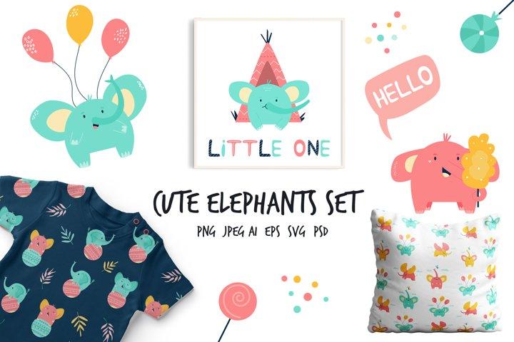 Cute Little Elephants Set for Baby Designs