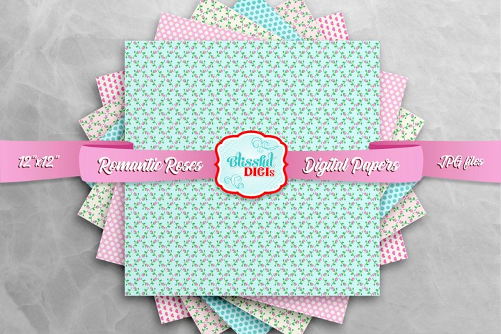 Digital Papers Bundle - Romantic Roses - JPG