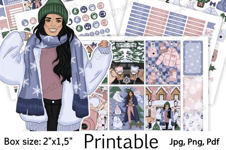 Winter Christmas Holiday Printable Stickers Box Size 2x1,5