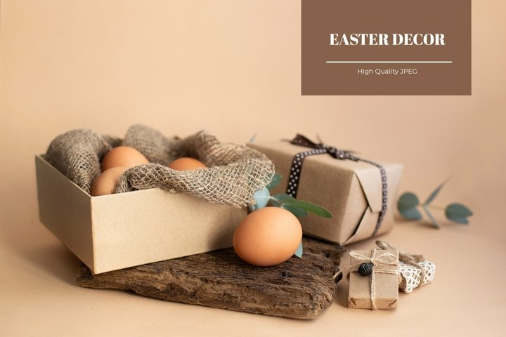 Sustainable Easter decor with brown eggs