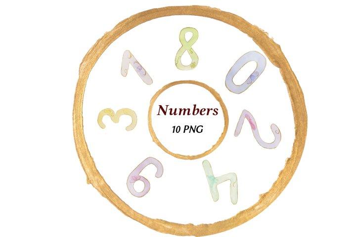 Nembers bundle, watercolor numbers, numbers clipart