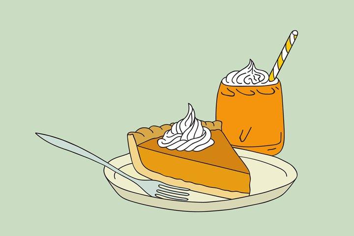 Hand drawn Thanksgiving pumpkin pie latte