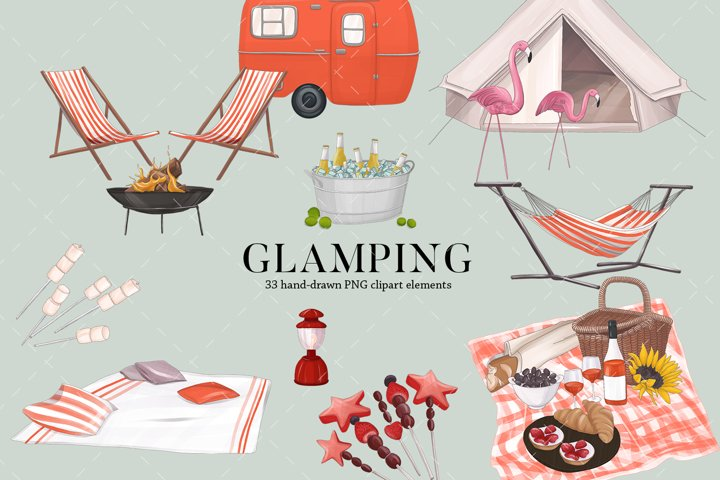 Glamping camping clipart bundle sublimation gift design
