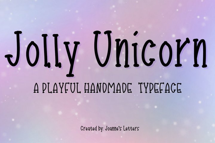 Jolly Unicorn A playful handmade typeface example
