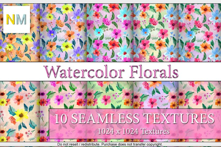 Watercolor Florals 10 Seamless Patterns Textures Harmonia NM