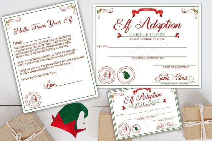 Printable Elf Adoption Certificate, Elf Letter, Elf Kit