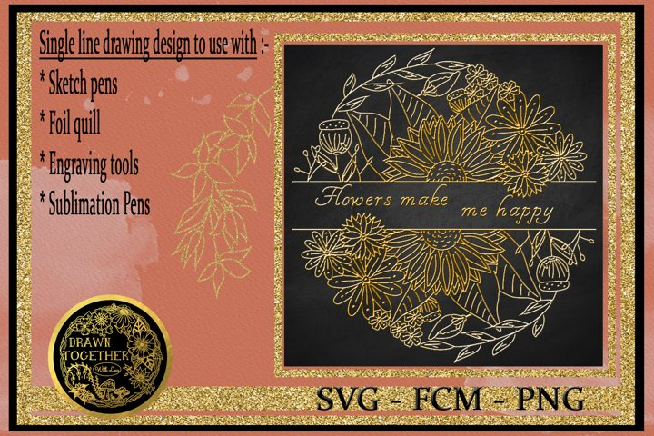 Mixed floral split - Single line for foil quill
