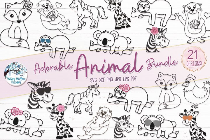 Adorable Animal SVG Bundle | Fox, Sloth, Zebra, Giraffe SVGs