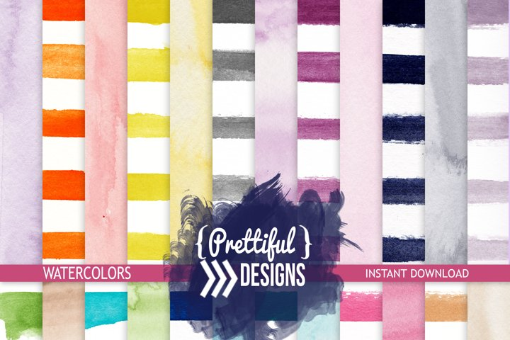 Watercolor Stripes and Solids Paper Backgrounds