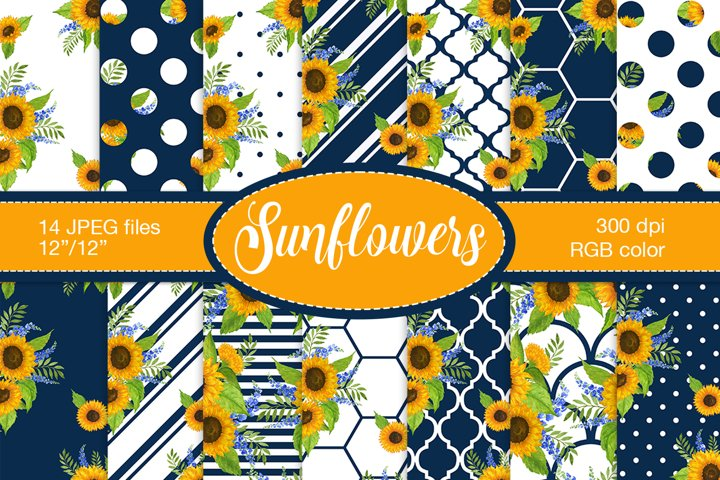 Sunflower digital paper, Floral digital paper pack