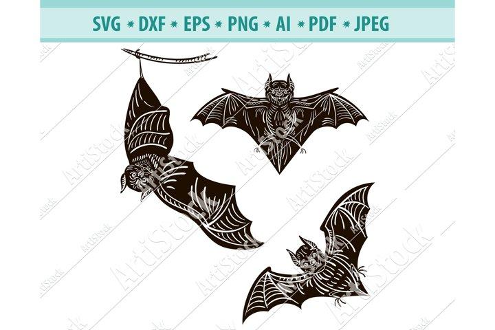 Bat SVG, Halloween SVG, Bats Silhouette Svg, Dxf, Png, Eps