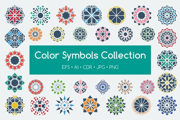 48 Vector Color Symbols EPS Ai CDR PNG JPG