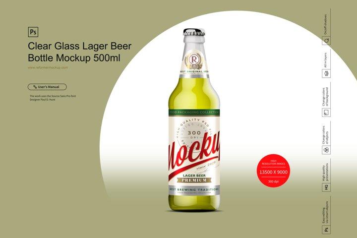 Clear Glass Lager Beer Bottle Mockup 500ml