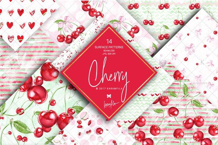 Cherry Patterns, Summer Fruit Digital Paper