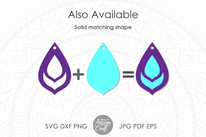Teardrop earrings,SVG, cut file, leather earrings SVG example 2