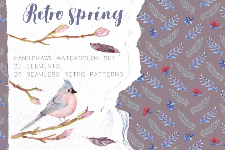 Retro spring. Hand-drawn watercolor set.