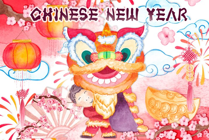 Chinese New Year clipart Watercolor Chinese Dragon