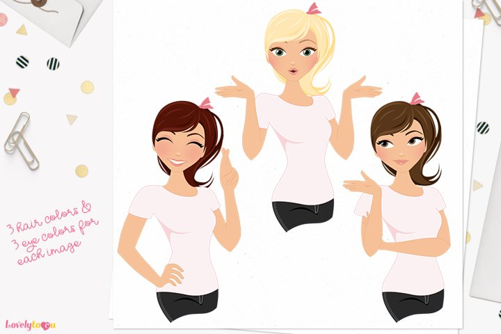 Female expression poses character clipart L447 Piper