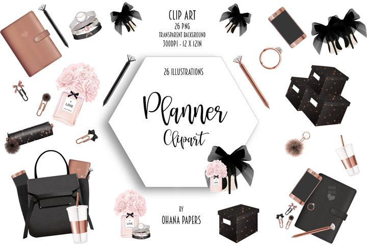 Rose Gold Clipart, Stationary Home Office Minimalist Clipart