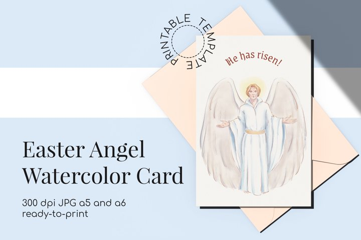 Easter Angel printable watercolor card | quote He has risen!