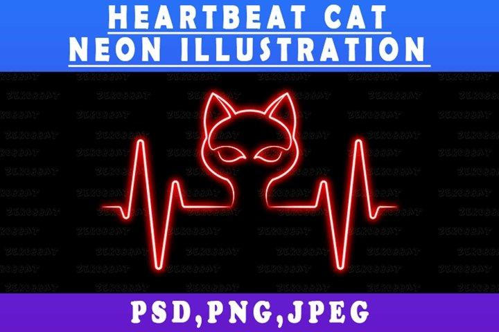 Neon Cat Lines Heartbeat Life Line Valentine illustration