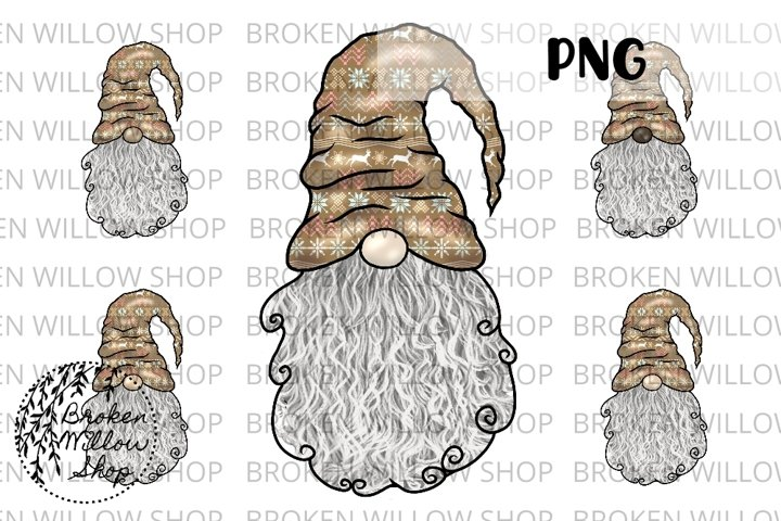 5 Styles Reindeer Hat Gnome Boy Curly Beard Sublimation PNG