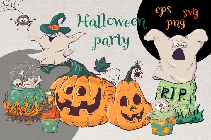 Hand drawn Halloween party SVG