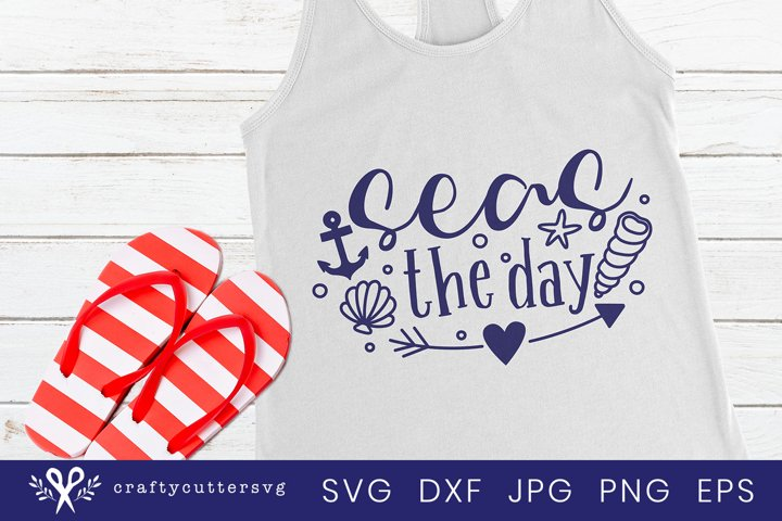 Seas the day Svg Cut File Heart Shell Anchor Clipart