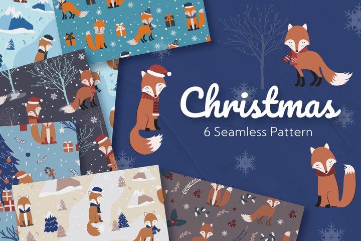 Christmas Seamless Pattern Fox