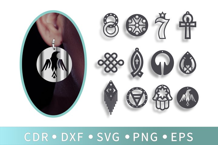 12 Geometric earrings, Raven pendant, Evil eye pendant, Ankh