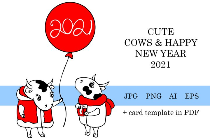 Cute cows Happy New year 2021 greeting card template