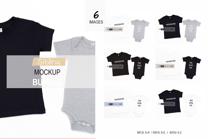 Sibling Tshirts Mockup Bundle| Bella Canvas 3001 T, 100B