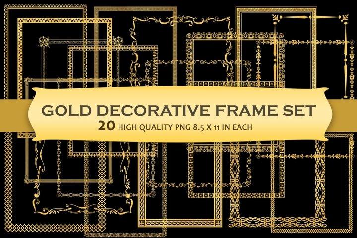 Gold Decorative Frames Clipart - Set of 20