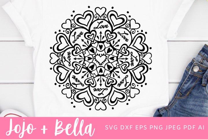 Mandala Svg | Heart Mandala SVG| Love SVG