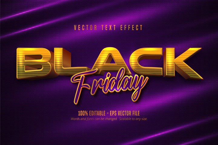 Black friday text, golden style editable text effect