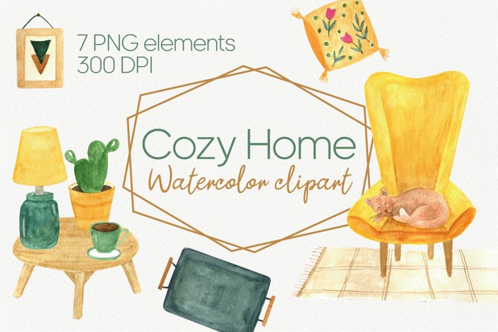 Fall cozy home clipart. Watercolor hygge clipart. PNG