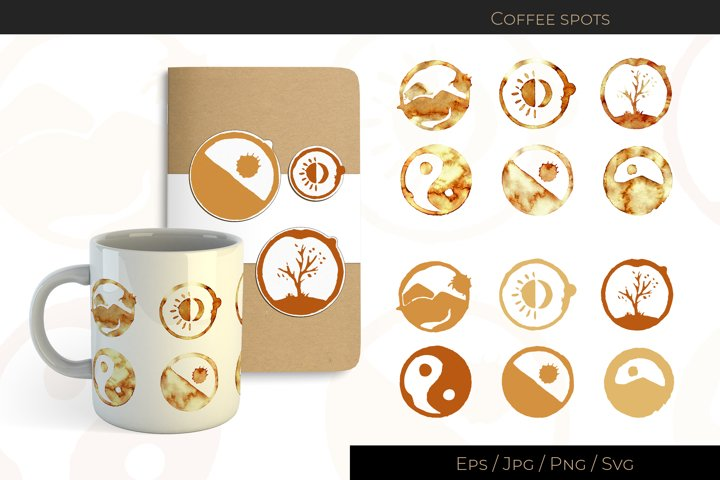 Coffee spots with picture of nature