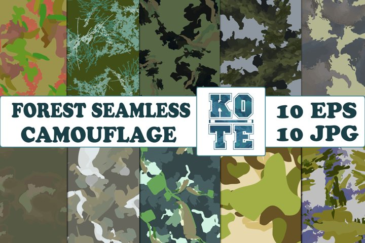 10 Seamless Military Forest Camouflage