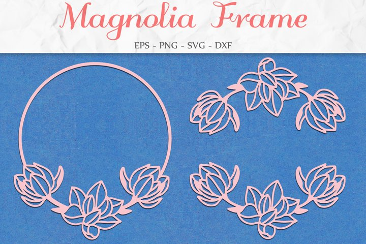 Magnolia Frame SVG, Floral Clipart, Flower Wreath