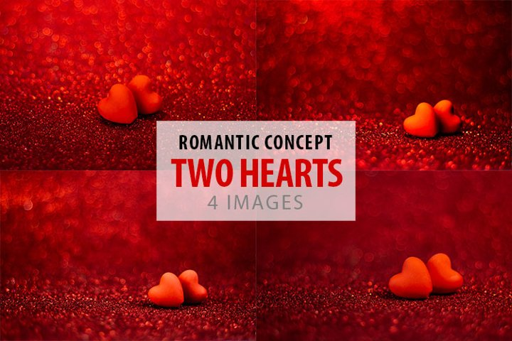 Two hearts in love on red background with romantic bokeh.