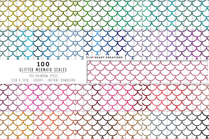 100 Glitter Mermaid Scales Digital Papers