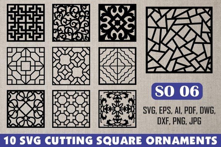 SO 06, 10 SVG CUTTING SQUARE ORNAMENTS
