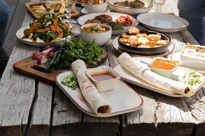 Georgian cuisine is always plentiful! Lula kebab with fresh