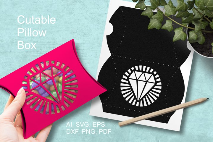 Diamond Cuttable Pillow Box Small Favor Packaging SVG AI PNG