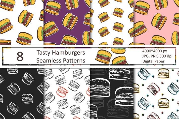 Cute Hamburgers Seamless Patterns
