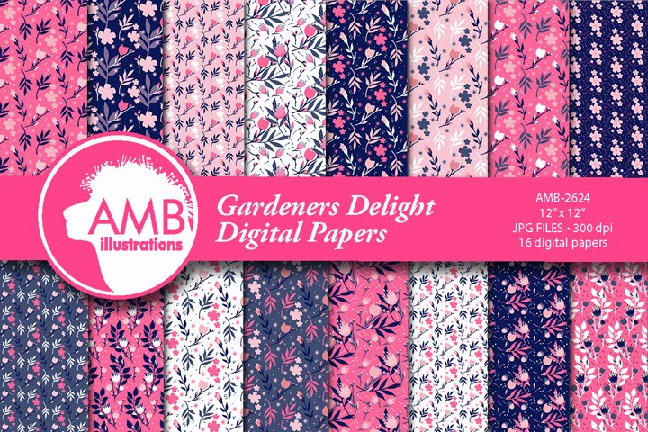 Gardners Delight floral digital papers AMB-2624