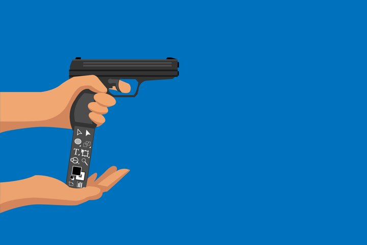 Illustration of a pistol with a holder for the illustrator